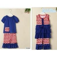 Best sell 4th of july outfits baby girls ruffle outfits name brand kids clothing wholesale