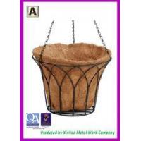 Wholesale 14'' round black wire hanging basket Plastic coating baskets with chains BH090021 from china suppliers