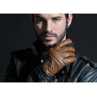 Wholesale Outdoor Warm Zipper Cuff Men Leather Driving Gloves With Embroidered Sheep Leather from china suppliers
