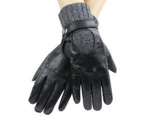 Quality Wool Knit Cuff Mens Leather Driving Gloves With Belt Sheep Leather for sale
