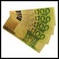 China Custom made gold money Gold plated banknotes gift 100 euro 500 euro banknotes on sale