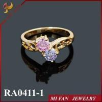 Wholesale Ring 18K Gold plated CZ twins pink diamond rings JOY FAN JEWELRY from china suppliers