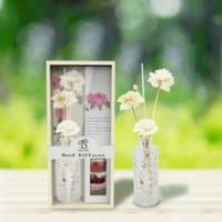 Wholesale Aromatherapy glass bottle home fragrance air freshener reed diffuser set with sola flower from china suppliers