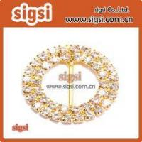 Wholesale Wholesale Gold Circle Rhinestone Ribbon Buckle from china suppliers