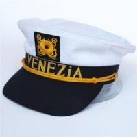 Wholesale white sailor hat child with black visor brim and yellow embroider badge from china suppliers