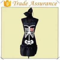 Wholesale factory sale satin material halloween skeleton apron funny apron from china suppliers