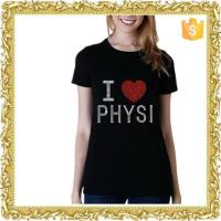 Wholesale High quality cotton short sleeve black rhinestone t shirt for women from china suppliers