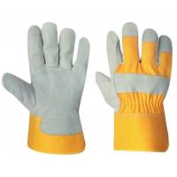 Wholesale Golden Color Cheap Price Split Cowhide Leather Safety Work Glove Made In China from china suppliers