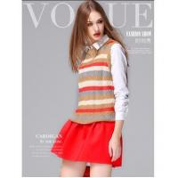 Buy cheap Multicolor Strip crew neck sleeveless knit women sweater vest from wholesalers
