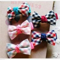Wholesale Girls Plaid Ribbon Bow Hair Clips from china suppliers