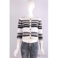 Wholesale C-002 Crew Neck Womens Structure Knit Cardigan, Autumn warm sweater in stripe pattern from china suppliers