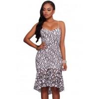 Wholesale Best Sellers White Black Embroidery Lace Mermaid Midi Party Dress from china suppliers