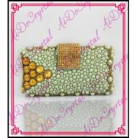 Wholesale Aidocrystal Handmade white pearl and gold crystal bead bags beaded clutch bag from china suppliers