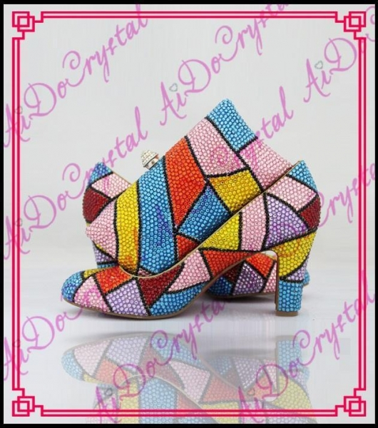 Quality Aidocrystal Handmade top designer crystal custom italian shoes and matching bag set for party for sale