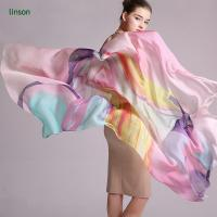 Wholesale Printed Silk Scarf 100% Pure Silk Chiffon Scarf/Long Size Custom Printed Scarves Shawls from china suppliers
