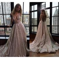 Shiny Deep-V-Neck Long Silver Backless A-line Prom Dresses
