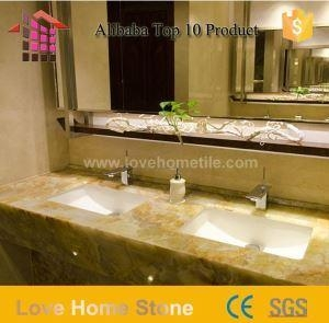 Quality 56 Inch Cultured Marble Double Bathroom Sinks Countertops with Low Price for sale