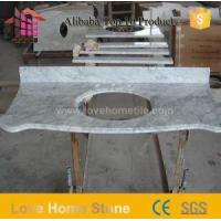 Wholesale China Foshan Supplier White Marble for Bathroom Countertops and offset Sink Vanity Top from china suppliers
