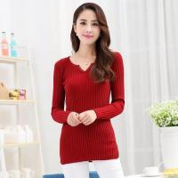 Wholesale Women Dark Red Cotton Blends Sweater from china suppliers