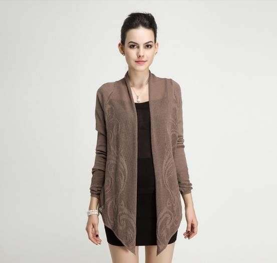Quality Spring Autumn Ladies Merino Wool Jacquard Stitch Knitted Long Sleeve Cardigan for sale