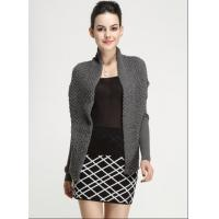 Wholesale Fall Winter Ladies Cotton Novelty Stitch Knitted Long Sleeve Cardigan Waistcoat with Belt from china suppliers