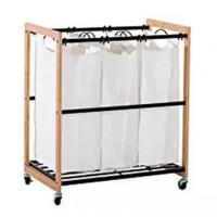 China Adjustable Removable Bamboo Laundry Hamper Cart with Wheels on sale