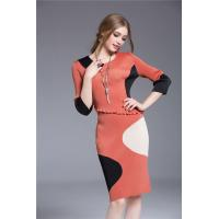 Buy cheap The Waist With Lotus Leaf Lace Stitching Seven Sleeves Dress from wholesalers