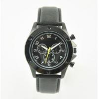 Wholesale 10ATM Water Resistant Leather Strap Stainless Steel Black Watch from china suppliers