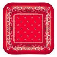 Buy cheap Red Bandana Dessert Plates (96) from Wholesalers