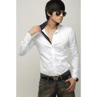 Mens Casual Slim Fit Stylish Shirts Blouse 3 color 3 size (Black) (Intl) - intl