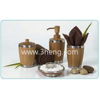 Wholesale Bamboo Bathroom Accessories - Bamboo & Stainless Steel Bath Set (Set of 4) from china suppliers