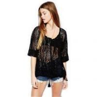 OEM high quality latest design casual loose lace hollow out o-neck hot girls sexy lady blouse & top