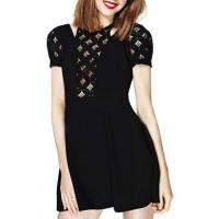 Wholesale Diamond Lace Cutout Top Short Sleeve Black Babydoll Dress from china suppliers