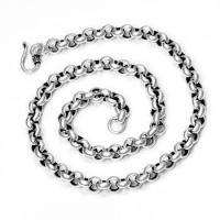 Wholesale 925 Sterling Silver Pearl Rings Link Vintage Men's Chain Necklace - 8mm Wide from china suppliers