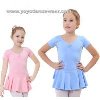 Wholesale LEO007Soft Cotton Short Sleeve leotard with Skirt from china suppliers