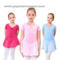Wholesale LEO013Soft Cotton Short Sleeve leotard with Chiffon Skirt from china suppliers