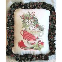 China Stacked Holiday Tea Cups Accent Pillow - One of Kind on sale