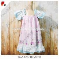 Wholesale Pink balloon printed dress cotton lace on sleeve and bottom from china suppliers