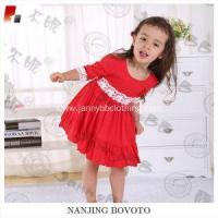 Wholesale girls big ruffles red viscose lace backless dress from china suppliers