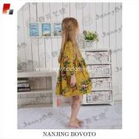 Wholesale mustard flannel long sleeve floral printed dress from china suppliers