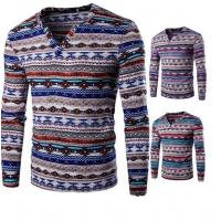 Wholesale Bulk Production All Over Printed 100% Polyester V Neck Long Sleeve T Shirt For Men from china suppliers