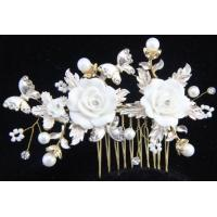Wholesale Crystal Rhinestone Flower Pearl Bride Hair Comb Clip Wedding Bridal Hairpin from china suppliers
