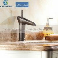 China Engraved Satin Colored Single Hole Brass Basin Tap Deck Mounted on sale