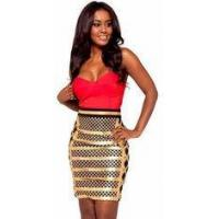 Wholesale Anti - Wrinkle Gold Foil Bandage Dress Sleeveless Rayon Nylon Spandex Material from china suppliers