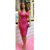 Wholesale Halter Fashion Bandage V Neck Dress Backless Rayon Nylon Spandex Material from china suppliers