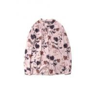 Ladies' Flower-printing Tie-collar Long-sleeve Draping Chiffon Blouse