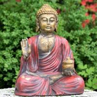 """18"""" TALL MAGNESIUM BUDDHA IN ANTIQUE RED FINISH"""