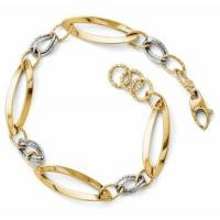 Wholesale Shiny and Diamond Cut 2 Tone 14k Gold Bracelet from china suppliers