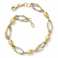 Wholesale Leslies 14k Two Tone Gold Diamond Cut Bracelet from Italy from china suppliers