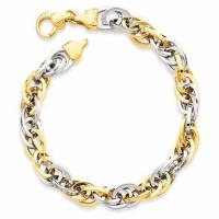 Wholesale LIMITED QUANTITIES - 14k Two-tone Gold Triple Link Bracelet for Women from china suppliers